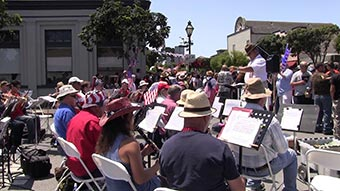 Half Moon Bay Sitting Marching Band at the 4th of July Parade