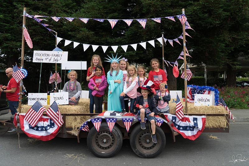 4th of July Parade Stockton Family float